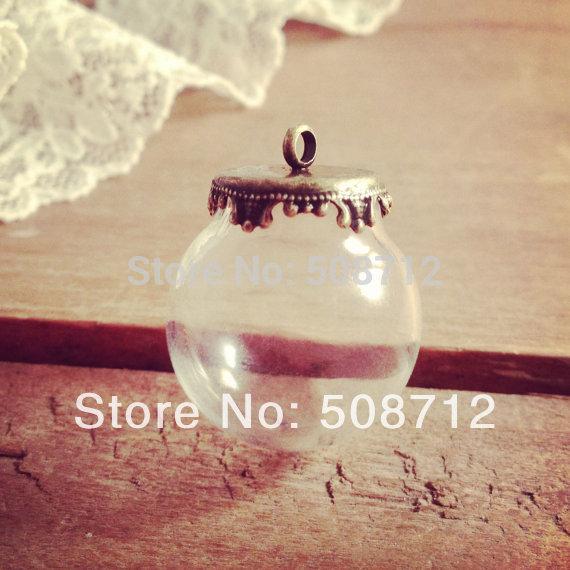 10setsSmall Globe Glass Bottle Pendant DIY Antique Bronze Pendant Top Terrarium Bottle Charm Apothecary Bottle Jewelry Supplies(China (Mainland))