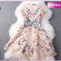 spring a one-piece dress embroidery medium-long slim