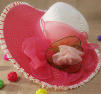 2014 New Hot Selling Women's Summer Flower Sunbonnet Sea Beach Hat Outdoor Cycling Sunhat Cap Straw Hats Free Shipping