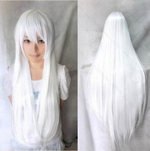 Free Shipping 2014 New 70cm Women Heat Resistant Lolita Candy White Color Long Straight Hair Cosplay Anime Party Wig Hairband(China (Mainland))