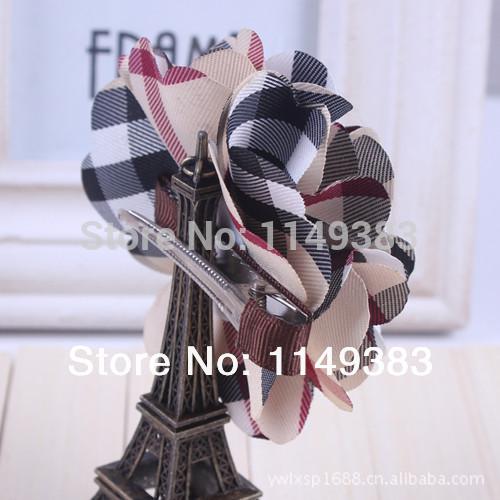 Minimum order of $ 10 -- New fashion design big flowers plaid hairpins duckbill hair clips barrettes women girls hair accessory(China (Mainland))