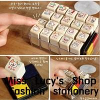 New 1box=20PCS /Korea cartoon cat stationery wooden stamps wholesales with inkpad