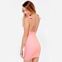 Women summer dress Sexy ruffle shoulder strap French racerback elastic slim dresses pink Full sizes XS-XXL