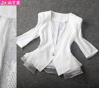 Fashion female blazer 2013 spring and summer eucken blazer cape waistcoat white lace chiffon shirt