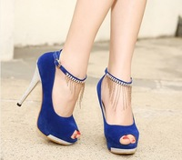 High-heeled shoes princess thin heels platform shallow mouth strap rhinestone women's sandals sexy female shoes