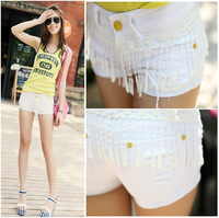 2014 distrressed popular tassel white denim shorts hot-selling