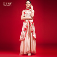 Married the bride fashion chinese style vintage lace cheongsam wedding dress long design formal dress evening dress