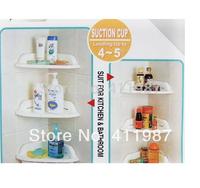 Free Shipping 2pcs/lot Powerful Corner Tub Shelf Bathroom Shower Bath Storage Kitchen Sucker Accessories.A97