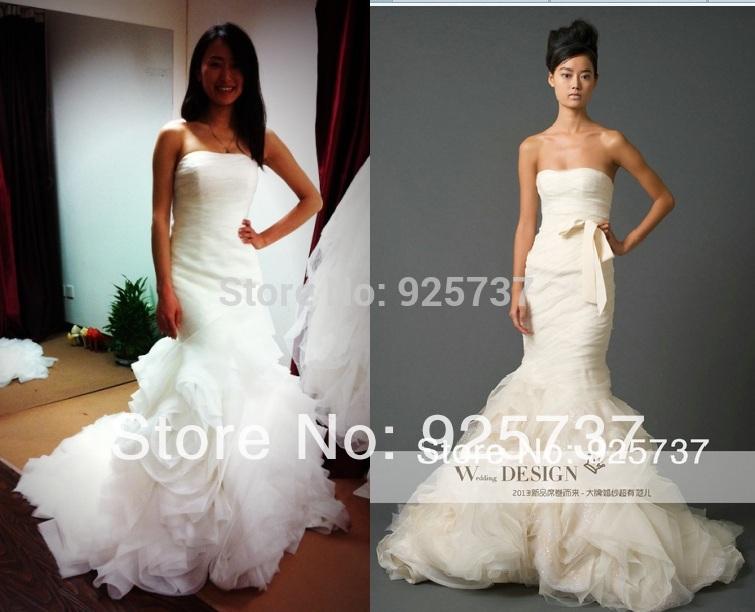 Chegada nova fora do ombro Sexy Ruched Organza sereia Dress2014 casamento vestidos de noiva real amostra da foto vestido de noiva do marfim(China (Mainland))