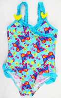 1 Pcs 2014 Girls Children Swimwear Swimsuit Kids Bathing Suits Butterfly Lovely Girls Summer Dress Size 3/4,5/6,7/8,9/10