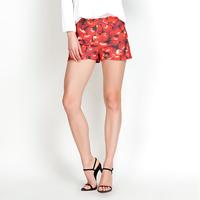 YIGELILA 827-H Ladies Europe Style Apple Print Mid Shorts Zipper Fly Shorts Free Shipping