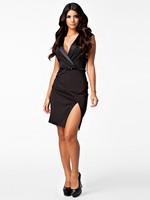 MC17952 New Fashion 2014 Women Deep V Tailored Collar OL Work Office Lady Dress with Belt Dress Sexy Black Peplum Dress