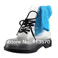 Free Colorful Socks 5 Pairs shoesstring PVC Transparent Crystal Transparent Rainboots Female Fashion Martin Rain Boots Jelly