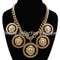 Free Shipping Fashion Lion Head Statement Necklace Choker Chain Jewelry 5Pcs/Lot