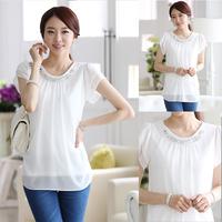 Free Shipping 2014 Summer Simple And Fashion Short Sleeve Blouses Women Chiffon Shirt White T1221