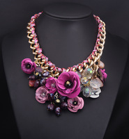 2014 Newest Necklace Jewelry EXW Flower Multicolor Necklace Wholesale Chain Chunky Choker Statement Necklace & Pendant Women