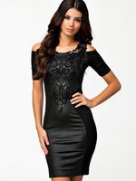 MC17944 Hot Sale New 2014 Spring Women Fashion Sexy Black Patchwork Bodycon Dress Summer Embroidery Casual Dress
