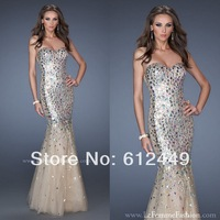 Hot Sale 2014 New Floor Length Tulle Prom Dress Long Evening Dress Mermaid Rhinestone Party Dress