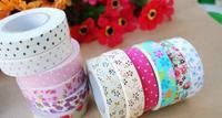 Wholesale,(1 Lot=15 Pcs) DIY Scrapbooking Paper Album Cotton Fabric Flowers masking Tape Adhesive Tapes