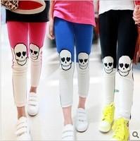 2014 free shipping Retail 1 set Top Quality Girls Skull embroidery stitching Slim Leggings Children fashion cotton pants
