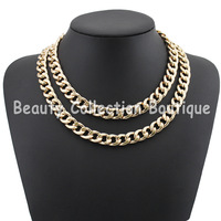 Free Shipping Gold Plated Double China Necklace Choker Chunky Necklace Brand Jewelry 5Pcs /Lot