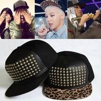 Free shipping 2014 G-dragon snapback gold rivet studded spiky leopard service bigbang hiphop baseball cap hat