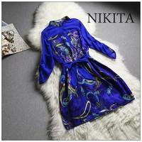 2014 spring and summer fashion print stand collar three quarter sleeve royal vintage silk one-piece dress