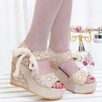 2014 new spring sandals wedges brief open toe shoe platform high-heeled shoes summer sweet platform women's shoes