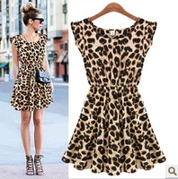 European style brand fashion Leopard slim pinched waist Dress Spring summer fall women lady wear free Drop shipping