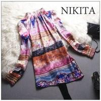2014 print dress fashion vintage beading high quality luxury long-sleeve silk one-piece dress