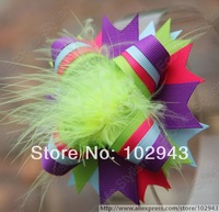 Free shipping wholesale 150pcs/lot 4'' Funky Girls Baby Over the Top Bow Feather Hair Clip Mixed 8 Color,baby hair clips 3027