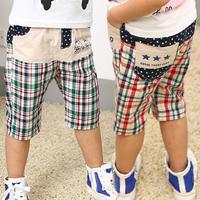 2015 summer new   cotton boy child shorts plaid boy fifth pants elastic waist trousers tom boy baby boy beach pants