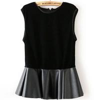 Fashion female leather clothing t-shirt