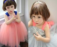 2014 summer new Korean Girls tutu dress cotton big bow sequined Strap sleeveless veil princess children dress
