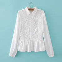 Spring fashion patchwork skirt lace long-sleeve shirt xqcs123102