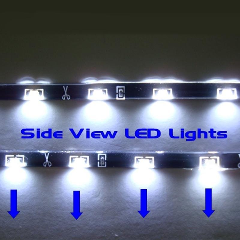 "LED 12V WHITE WATERPROOF 2X 24""(60cm) SIDE SHINE STRIP 30 SMD HID FOG DRL HEAD SLIM XENON LIGHT(China (Mainland))"