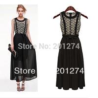 Vestidos Casual Free Shipping Dresses 2014 New Fashion Hot Summer One-piece Dress Women's Lace Crotch Medium-long Suspender