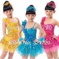 children show props latin ballet tutu girls dance skirt sequins veil skirt color can choose