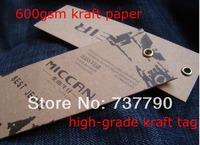 custom printed gift kraft paper hang tag/price tag/600gsm kraft paper high-grade tag/Jeans hang tag