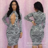 Spot Sexy Dress Europe and America sexy bandage dress zebra print dress skirt upscale nightclub