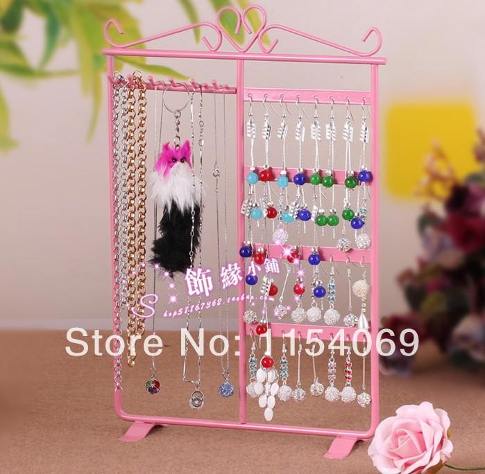 32 Holes Display Rack Pink Metal Stand Holder Closet Jewelry Earrings Organizers Showcase Packaging & Display Wholesale(China (Mainland))