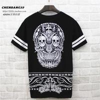 West coast short-sleeve T-shirt slim vintage street men's clothing skull short-sleeve o-neck