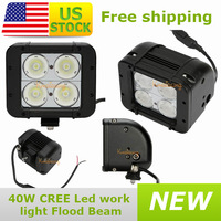 New led Work Light Cree Led Offroad Lamp Driving Bar White Flood Beam Dual Row 40W 10~45V free to USA