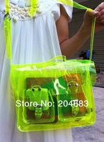 2014 Summer new arrival jayjays beach bag neon green pvc transparent waterproof bag women messenger bags