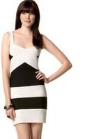 High quality Black white striped elastic bodycon hl bandage spaghetti strap dress 2014 new designer women sexy mini party dress