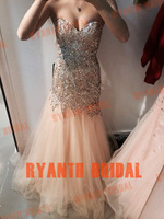 RBC052 Sexy 2014 New Arrival Fully Crystal Tulle Prom Dresses Mermaid Party Dress Vestido Longo