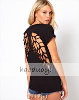New 2014 fashion t shirt for women laser backless angel wings women's White Black shorts tops & tees t-shirt autumn-summer XXL