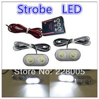 New 2LEDX2  4LED Car Strobe Light 12V Flash Warning Light   High Power Emergency Car Dash Warning Strobe Flashing Light