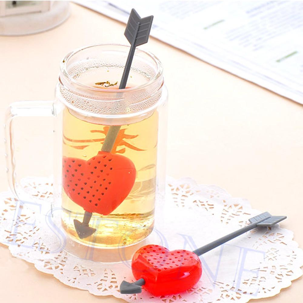 Cute Cupid Arrow Love Heart Tea Infuser Herb Leaf Filter Strainer Stirrer Teabag(China (Mainland))
