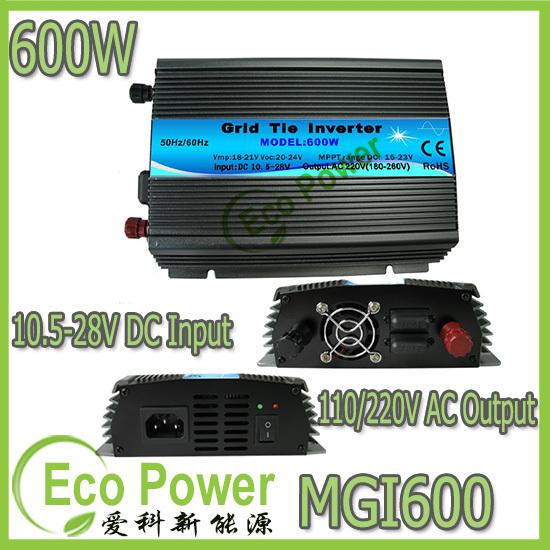 CE approved 600w mppt solar power grid tie inverter pure sine wave 10.5-28V DC input,120V /230VAC output(China (Mainland))